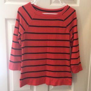 Orange sweatshirt with navy stripes